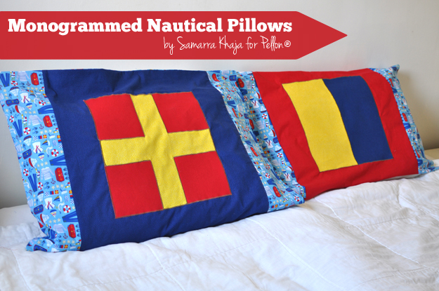 Monogrammed Nautical Pillows :: Samarra Khaja for Pellon Projects